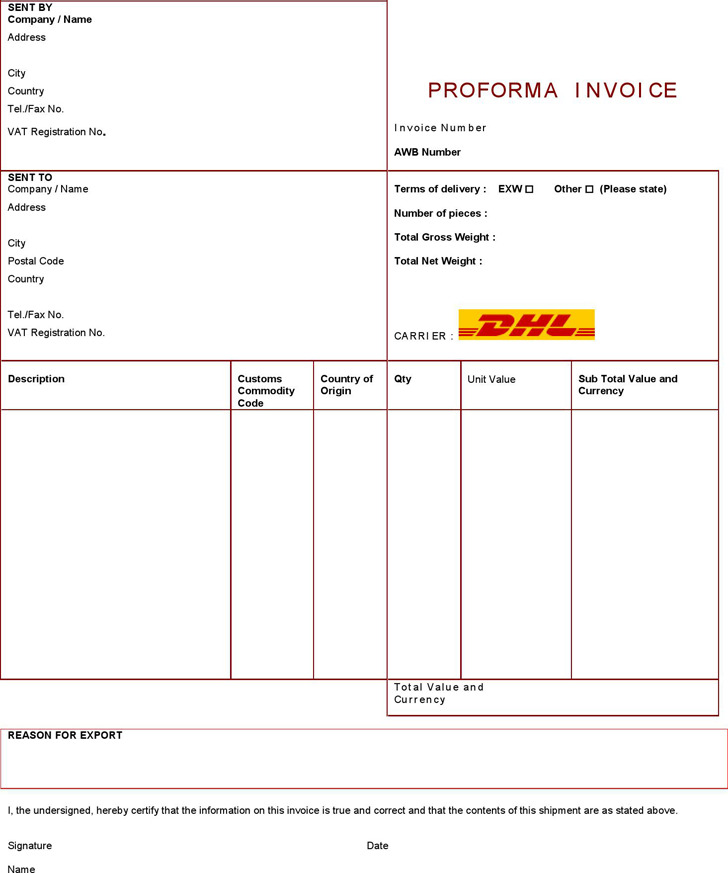 5+ Pro Forma Invoice Template Free Download