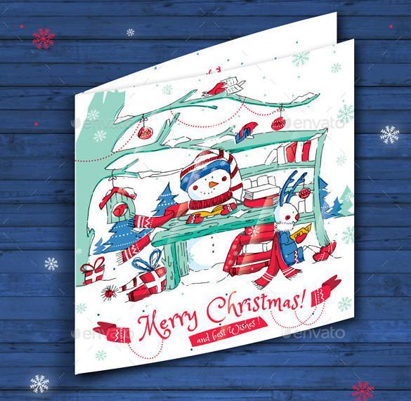 Digital Christmas Card Template AI Illustrator Format