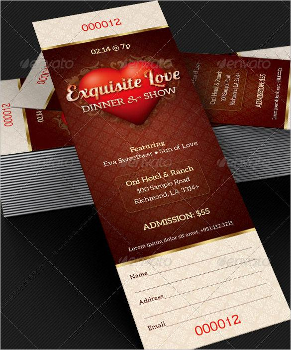 Dinner Ticket Template  Dinner Ticket Template