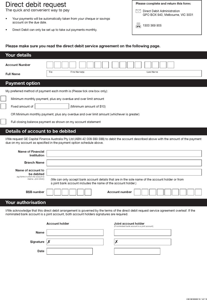 Direct Debit Form  Download Free  Premium Templates Forms