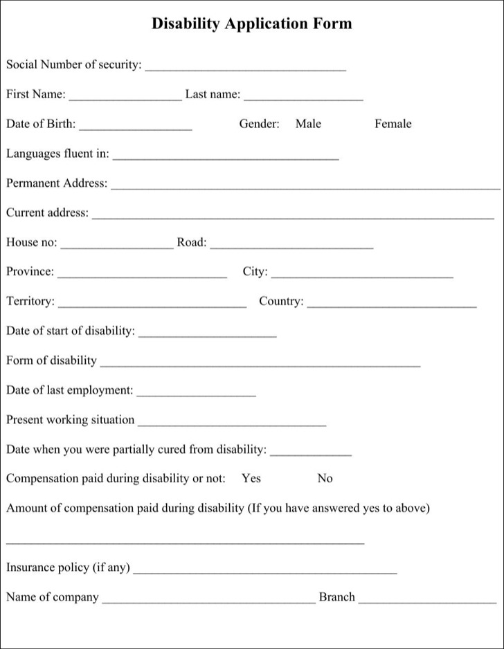Sample Disability Application Form  Download Free  Premium