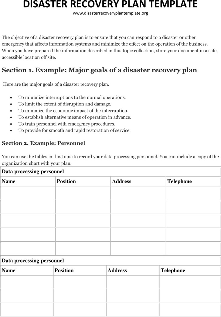 Disaster recovery plan template download free premium for Disaster recovery testing template