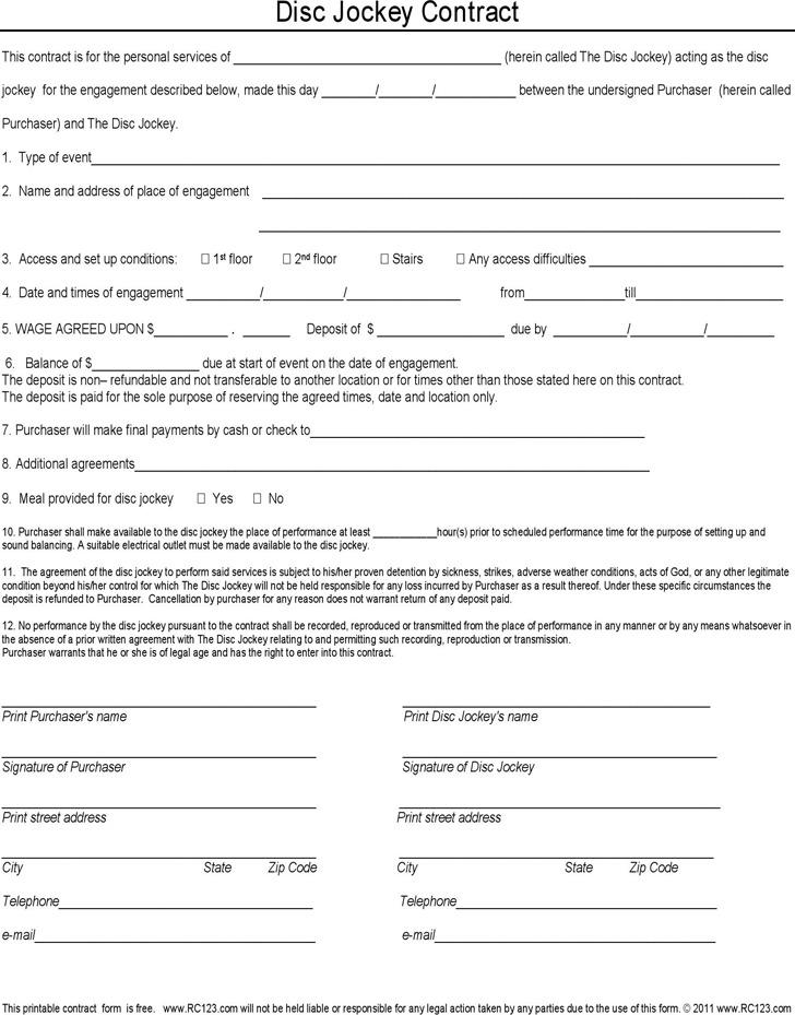 Disc Jockey Contract Form