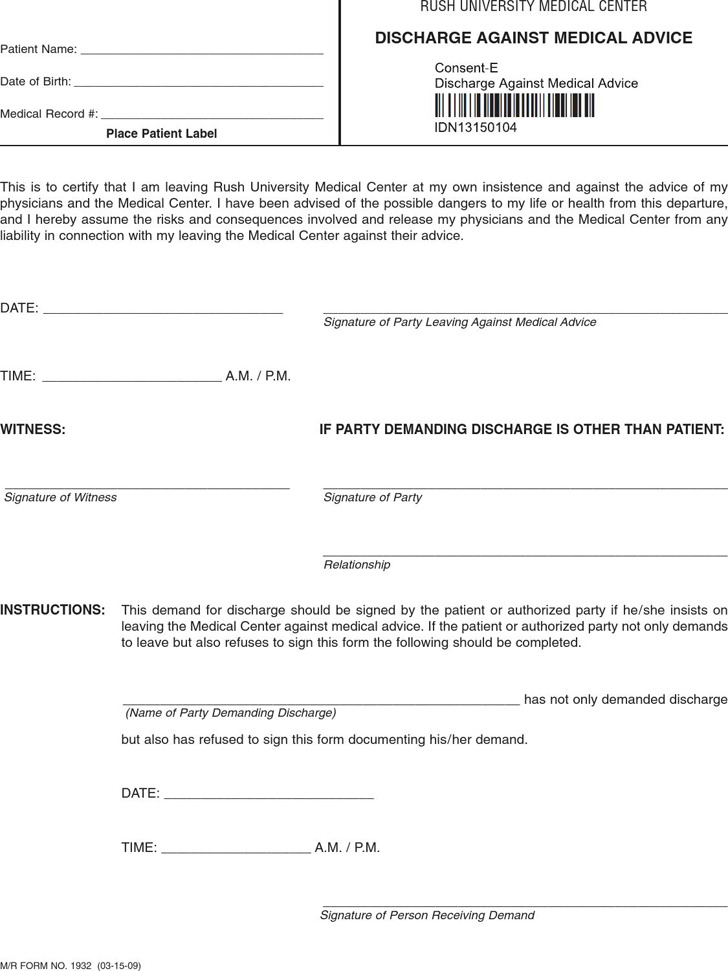Against Medical Advice Form | Download Free & Premium Templates