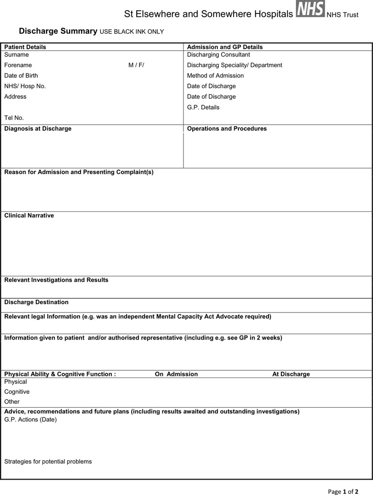Sample Discharge Summary Template Project Summary Templates Free
