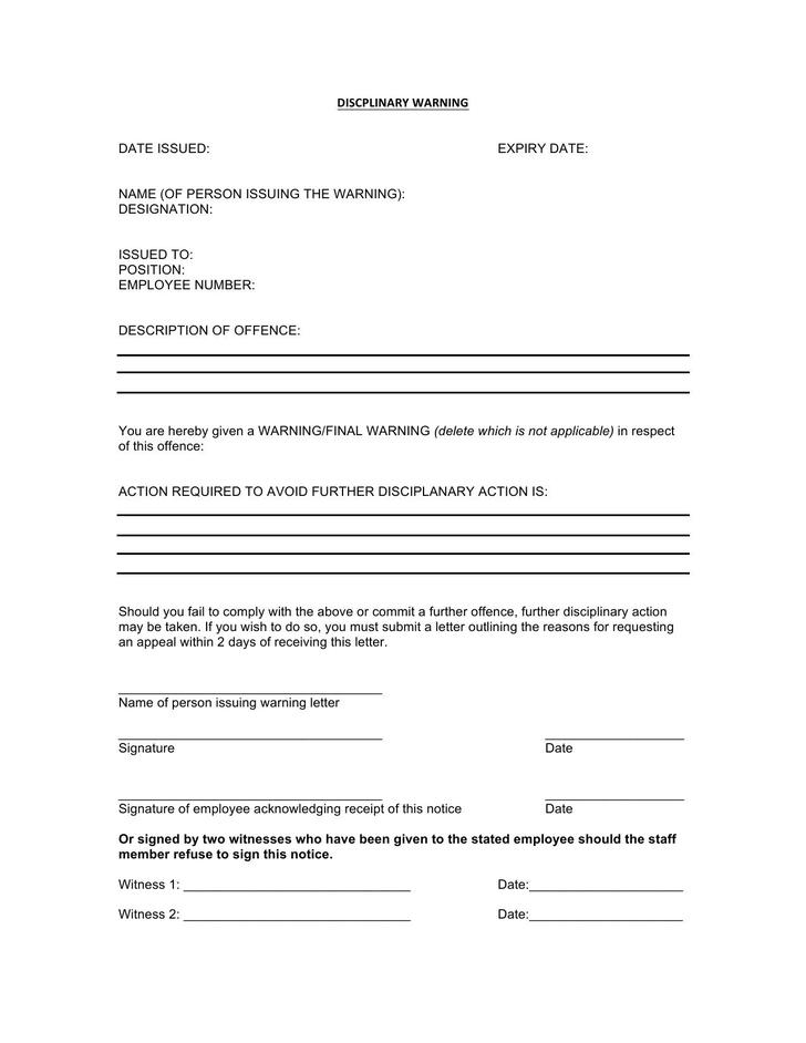 Disciplinary Warning Letter Template Free Word Doc Download