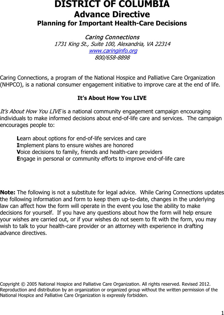 District of Columbia Advance Health Care Directive Form 1