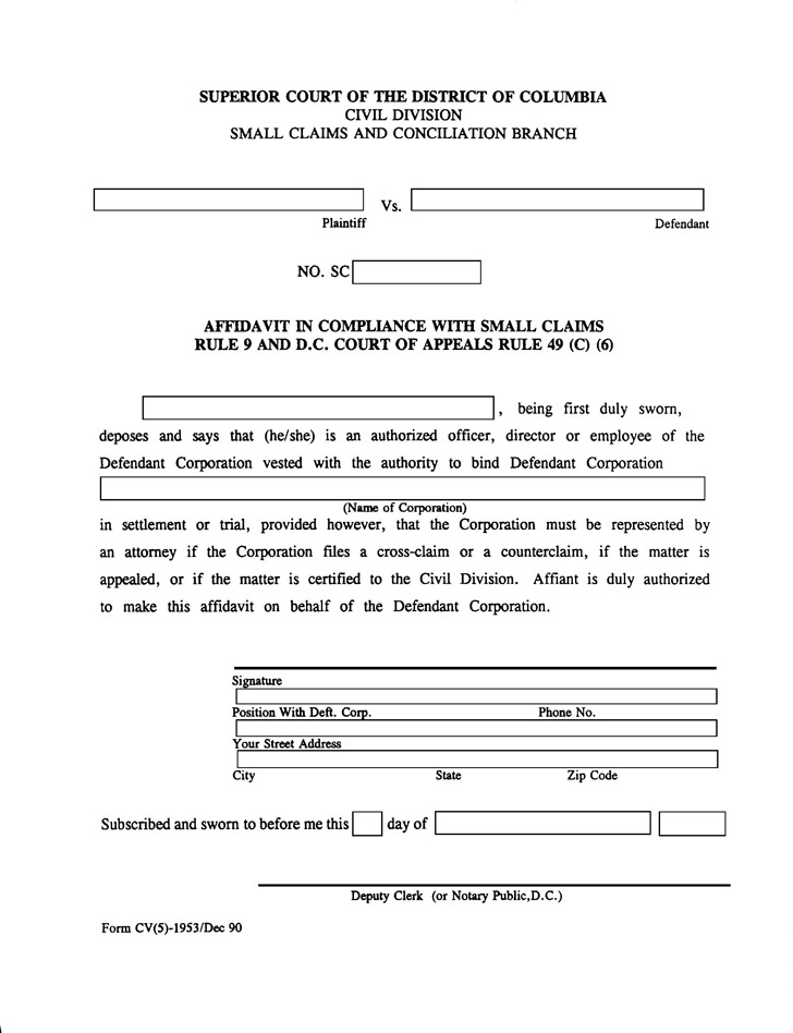 District of Columbia Affidavit in Compliance with Small Claims Form