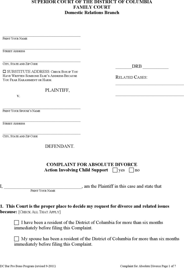 District of Columbia Complaint for Absolute Divorce Form