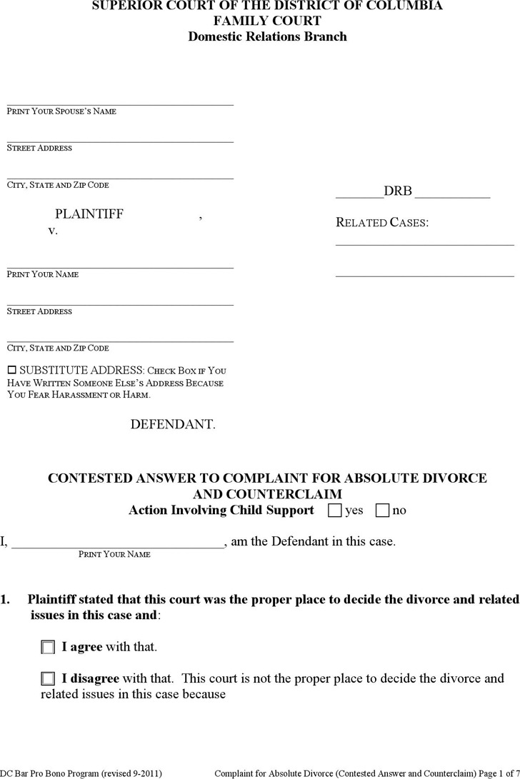 District of Columbia Divorce Papers | Download Free & Premium ...
