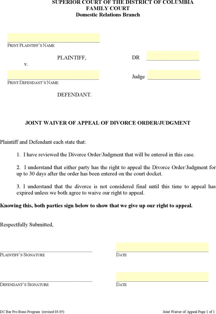 District of Columbia Joint Waiver of Appeal of Divorce Order/Judgment Form