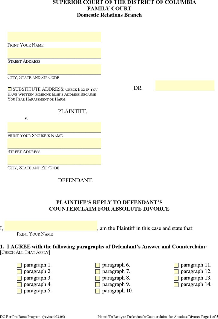 District of Columbia Plaintiff's Reply to Defendant's Counterclaim for Absolute Divorce Form