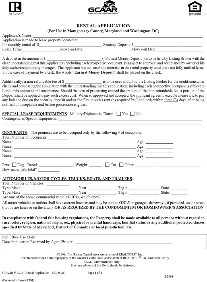 District of Columbia Rental Application Form