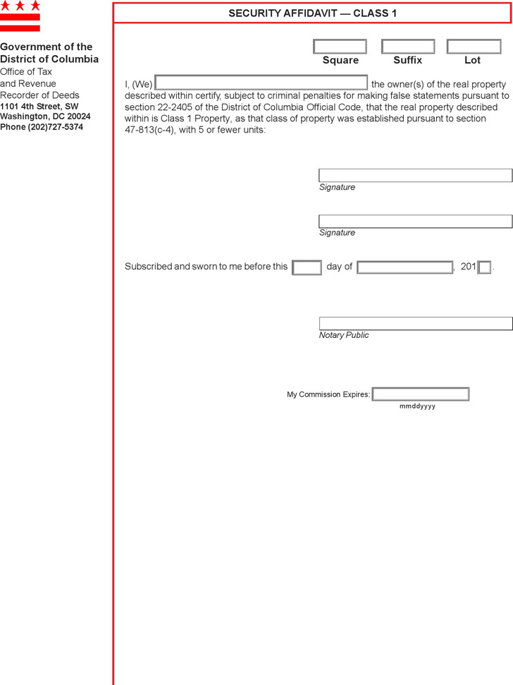 District Of Columbia Affidavit Form  Download Free  Premium