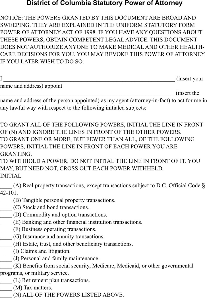 District Of Columbia Power Of Attorney Form Download Free