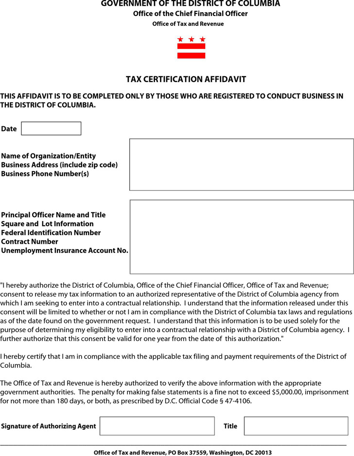 District of Columbia Tax Certification Affidavit Form