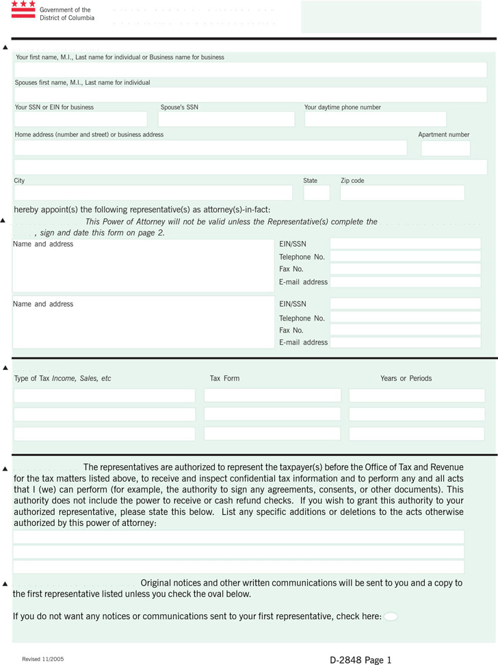 District of Columbia Tax Power of Attorney Form 1