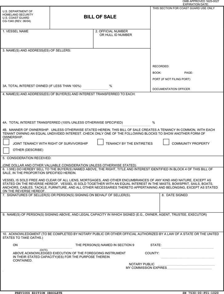 District of Columbia Vessel Bill of Sale Form