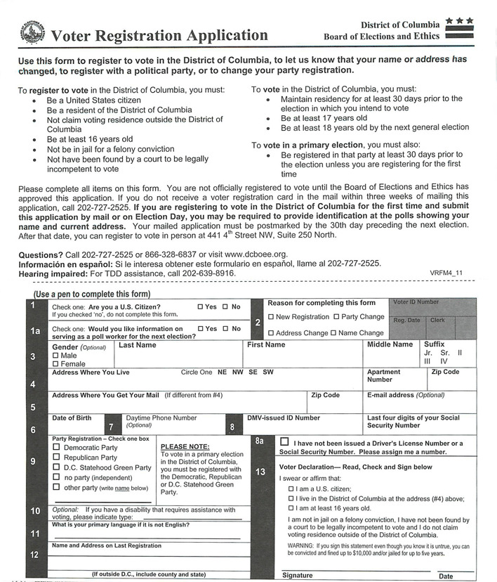 District of Columbia Voter Registration