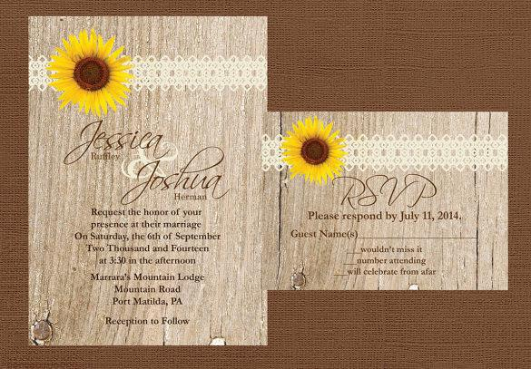 DIY Wood Rustic Wedding Invitation Template Download