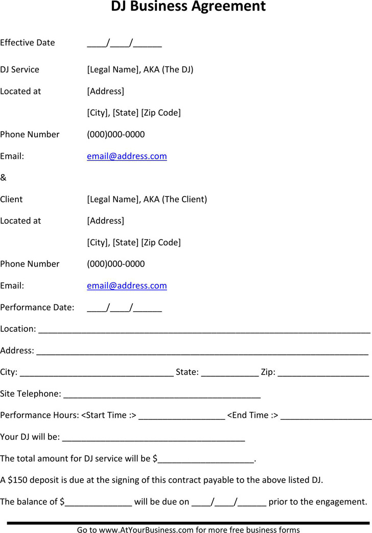 Dj Contract Template  Download Free  Premium Templates Forms