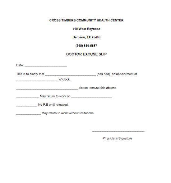 Doctors Excuse Note for Work Free Word Download