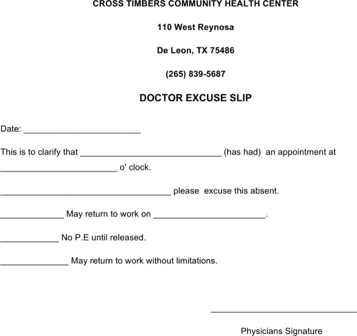 Doctors Excuse Note Template For Work