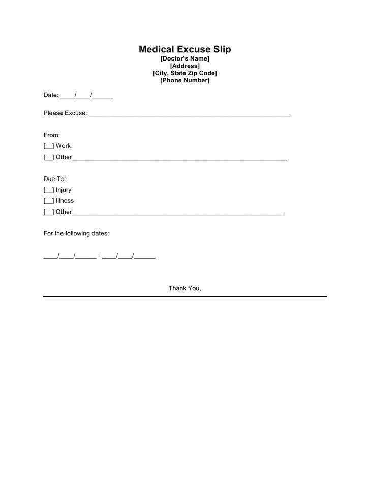 Doctors Excuse Template Free