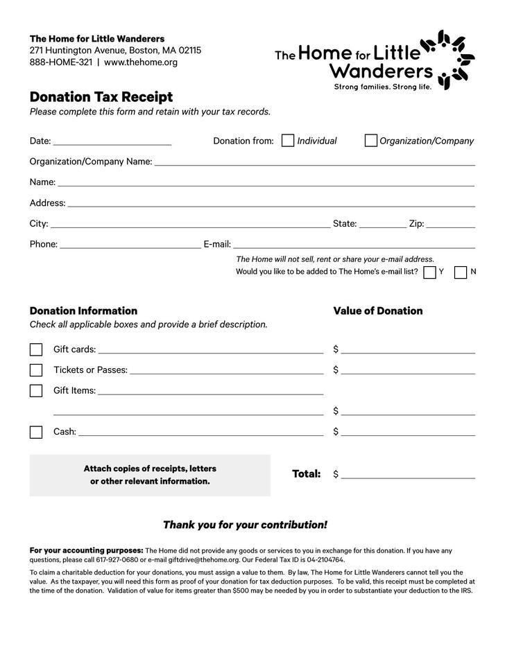 Donation Tax Receipt PDF Format Download