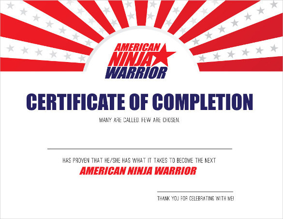 Download AMERICAN NINJA WARRIOR Certificate of Completion Printable