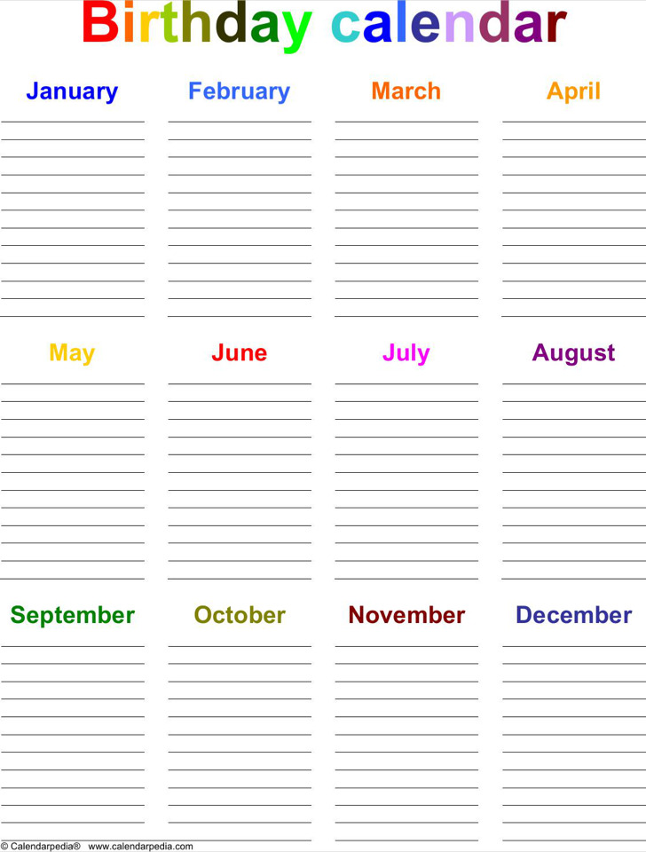 Download Birthday Calendar Template For Free
