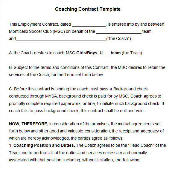 Sample coaching contract templates download free for Coaching contracts templates