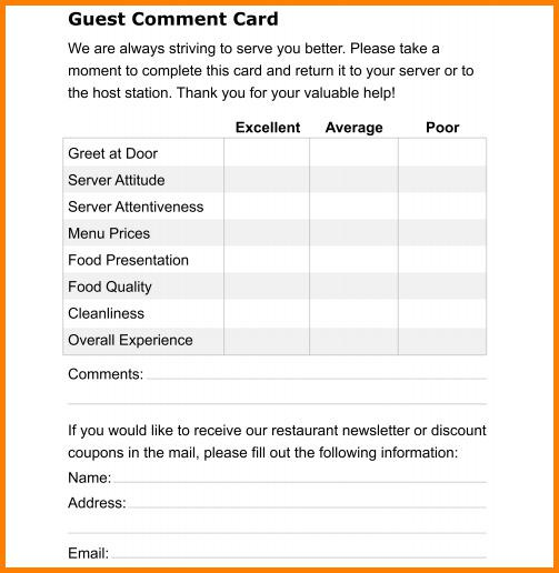 Download Comment Card Template for Free