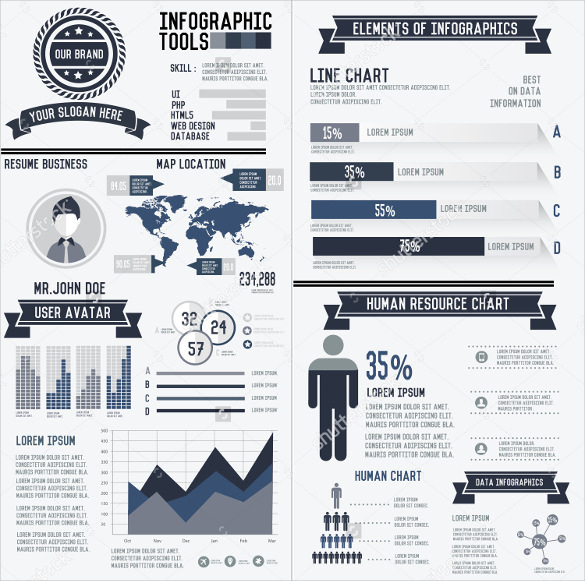 Download Corporate Infographic Resume Elements Data Template