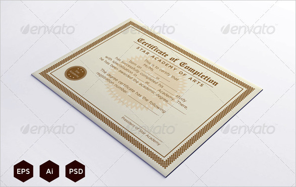 Completion certificate template download free premium for Download certificate template psd