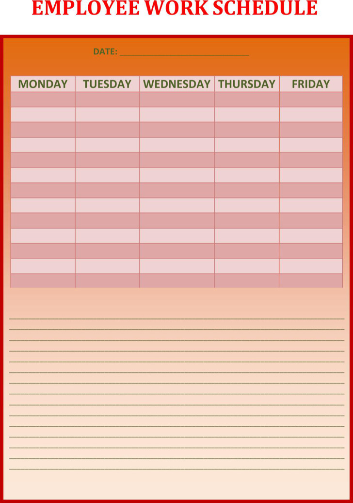 Weekly Work Schedule Templates | Download Free & Premium Templates