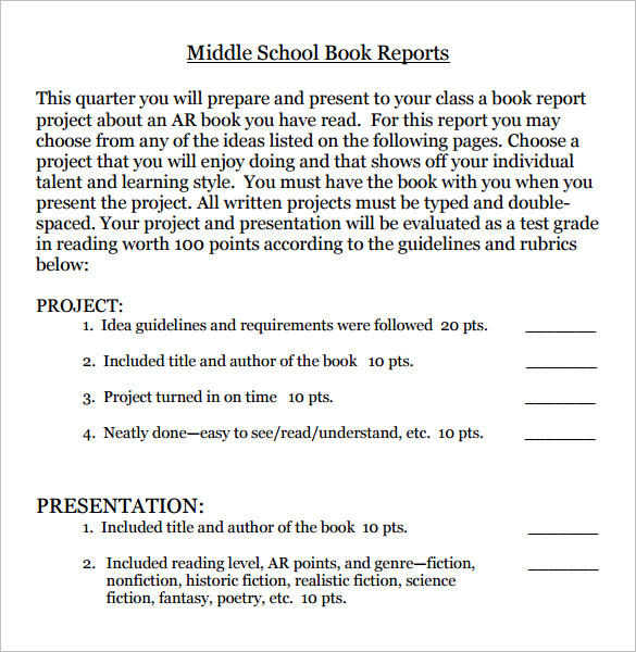 Middle School Book Report Templates  Download Free  Premium