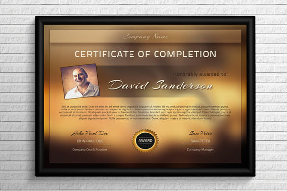 Download Modern Completion Certificate Template PSD Format