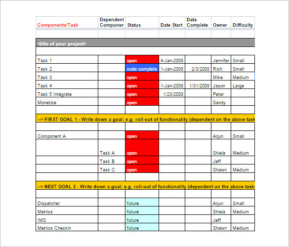project management schedule template download free