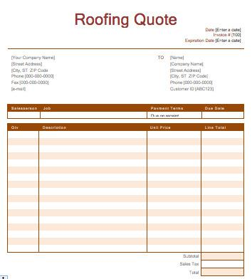 Download Roofing Estimation Quote Template Editable Download