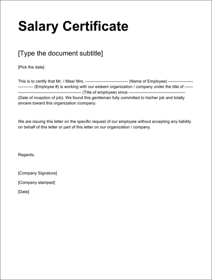 Salary Certificate Templates – Salary Certificate Template
