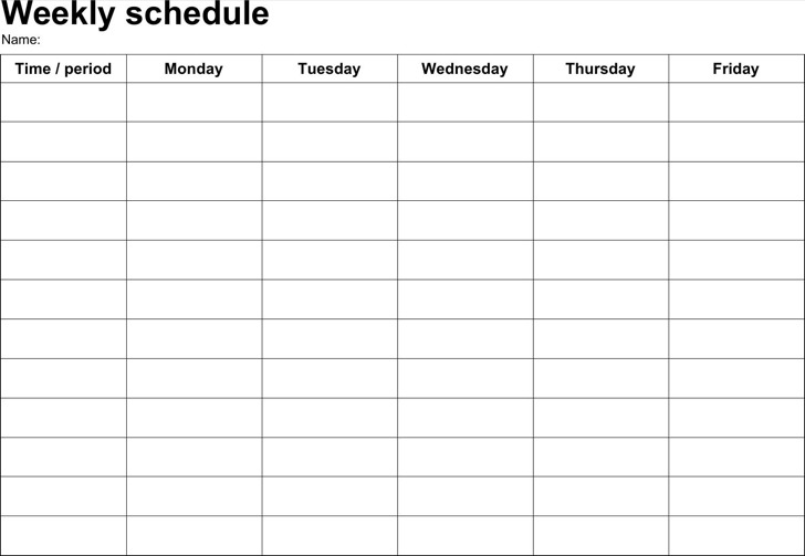 Download Weekly Schedule Template Free