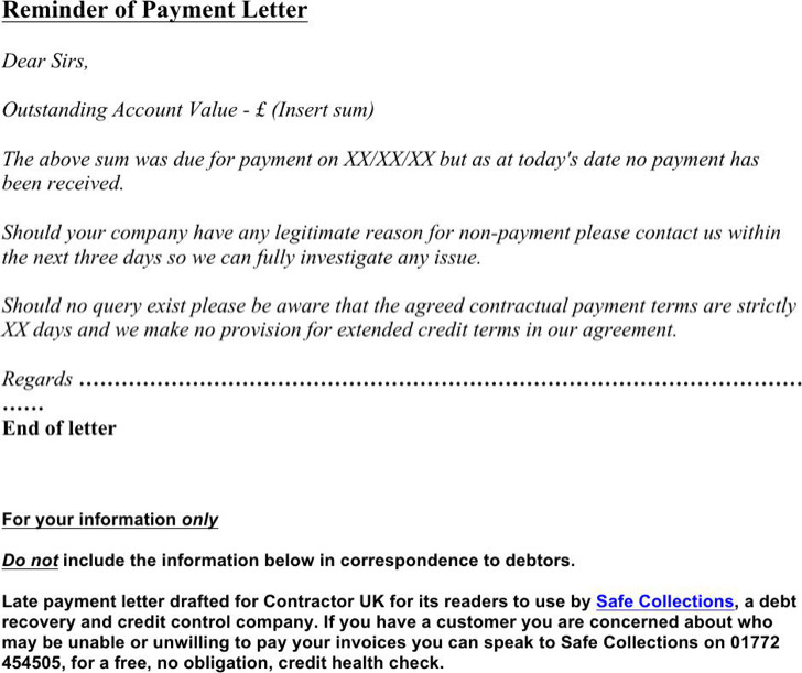 Payment Reminder Letter Templates