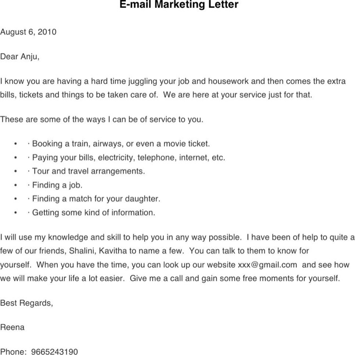 E Mail Marketing Letter