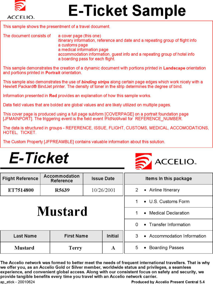 E Ticket Itinerary Template