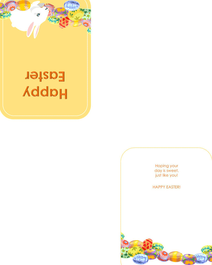 Easter Card Template With Bunny And Eggs