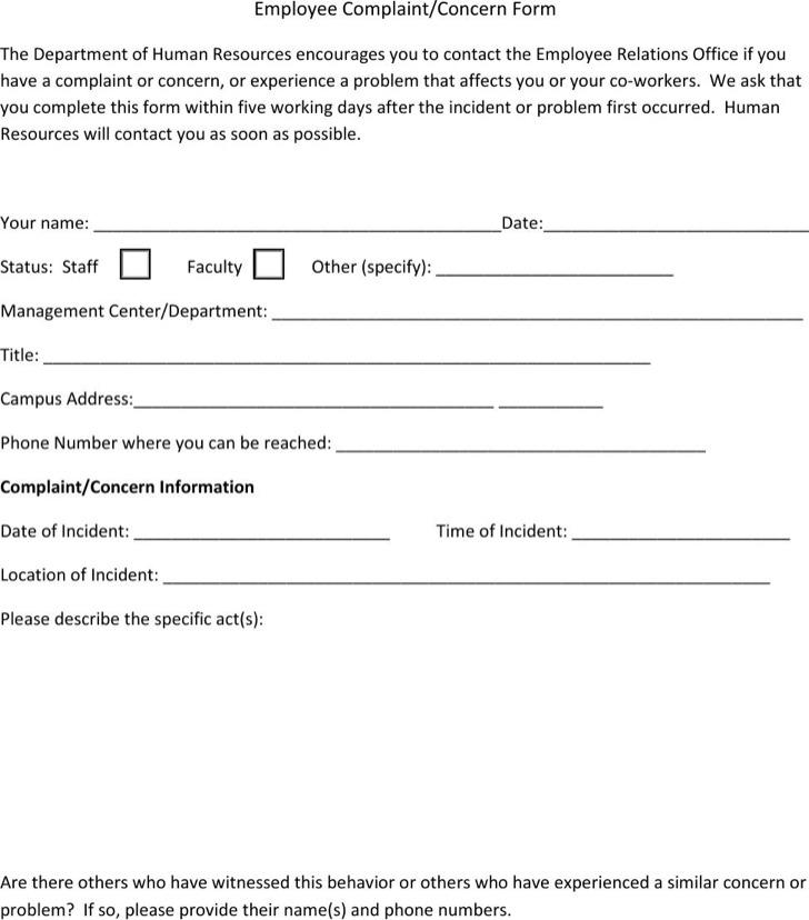 HR Complaint Forms – Complaint Form