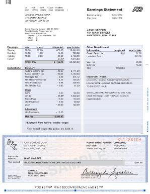 Editable Free Pay Check Stub Template PDF Format