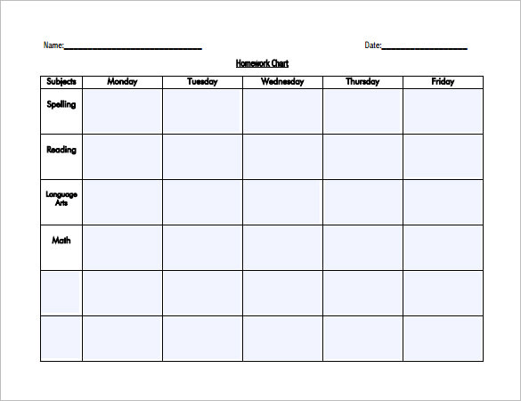 Editable Homework Schedule Template for Kids PDF
