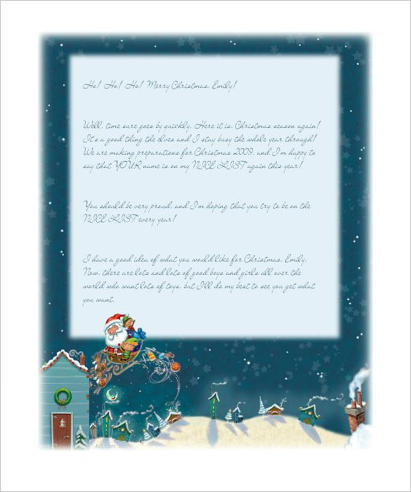 Editable Letter from Santa Christmas Stationery Template